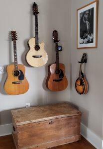 Guitars haning on the wall